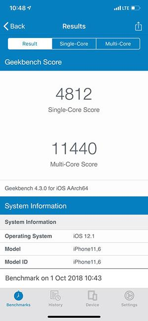 iPhone XS Max Geekbench 4 test